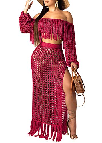 (Women Sexy Tassels Hollow Out 2 Piece Outfits See Through Off Shoulder Crop Top and Split Maxi Dress Set Swimwear Bikini Cover up (Wine Red, XL))