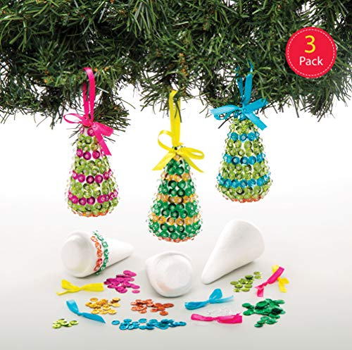 Baker Ross Christmas Tree Sequin Decoration Kits (Pack of 3) Festive Arts and Crafts for Children (Art Christmas Tree Pin)