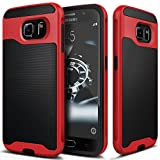 Galaxy S6 Case, Caseology® [Wavelength Series] Textured Pattern Grip Cover [Black / Red] [Shock Proof] for Samsung Galaxy S6 - Black / Red