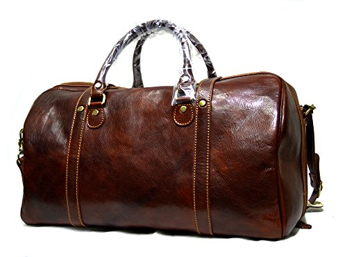 Leather travel bag duffle bag weekender overnight carryon hand luggage genuine leather duffle bag gym bag mens ladies carryon brown mens leather women's duffle by ItalianHandbags