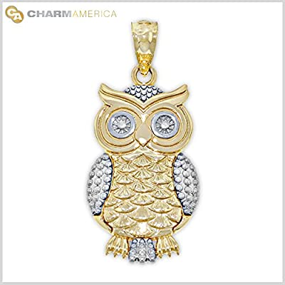 Gold Owl Charm, 14k Solid Gold from Charm America