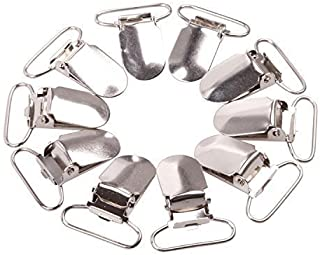 10 Pieces Silver Metal Pacifier Clips - Rectangular 34mm Clasp with Internal Loop Width of 24mm - For Repairing Suspenders and Bags - Clamps for Baby Bibs and Mittens - ID Holder by Trimming Shop