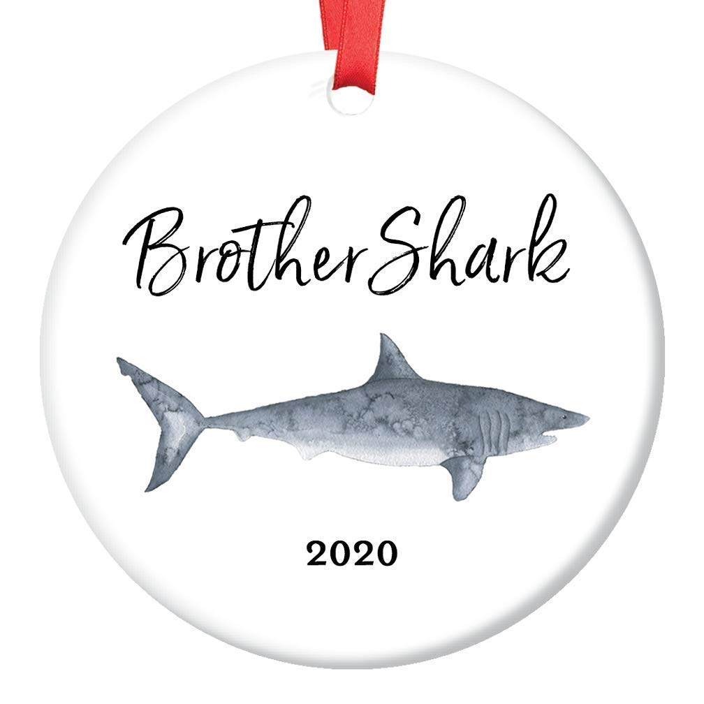 Amazon Com Brother Shark Gift Ornament Christmas 2020 Ceramic Stocking Stuffer Keepsake Present For Sibling Male Child Son From Mom Dad Sister 3 Flat Porcelain Collectible With Red Ribbon Free Gift Box