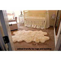 Fur Accents Faux Fur Sheepskin Accent Rug / Quatro / Off White / 40 X 60