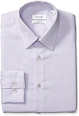 Calvin Klein Men's Dress Shirts Non Iron Regular Fit Stretch Mini Check