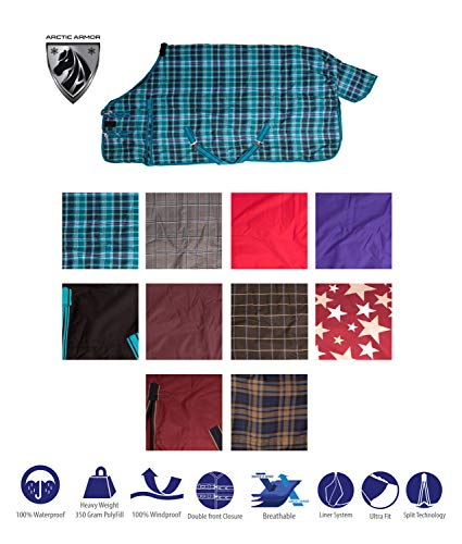 AceRugs New Premium 1200D Turnout Waterproof Horse Winter Blanket Blue Green RED Purple 72 82 (74, Navy Plaid)