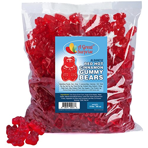 Gummy Bears Bulk - Red Hot Gummy Bear - Cinnamon Gummi Bears - Bulk Candy Gummies 5 LB