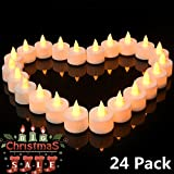 electric party - Flickering LED Tea Lights 24 Pack, Flameless LED Candles Set/Reusable Electric Tealights, Votive Pillar Candles for Party, Wedding, Birthday, Holiday & Home Decoration