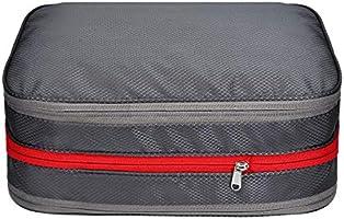 圧縮バッグ 便利旅行圧縮バッグ ファスナー圧縮でスペース50%節約 衣類乾湿分離 出張/旅行/フィットネス 収納バッグ 便利グッズ 衣類仕分け 旅行 出張 防水 超軽量 簡単圧縮超大容量 15L (グレー)