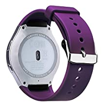 """V-Moro Samsung Gear S2 band - Soft Silicone Replacement Strap Band With Adapters for Gear S2 SM-R720/SM-R730 Smartwatch, fits 5.1""""- 7.6"""" Wrist - (Purple)"""