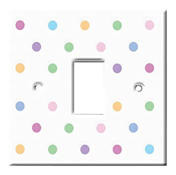 Homeplates Polka Dots Plastic Light Switch Cover Multi Coloured