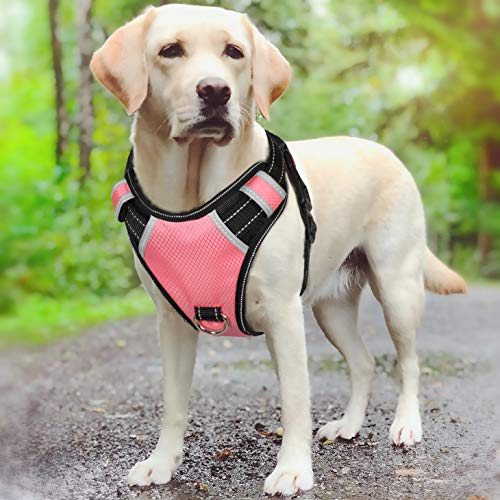 Big Dog Harness No Pull Adjustable Pet Reflective Oxford Soft Vest for Large Dogs Easy Control Harness (M, Pink)