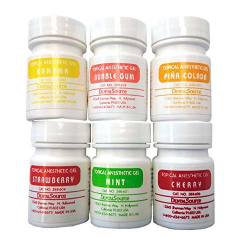 Anesthetic Gel Oral - Dental Topical Anesthetic Gel SET of 6 Jar KIT (6 x 30 grams) (Cherry, Mint, Bubble Gum, Banana, Strawberry, Piña Colada)