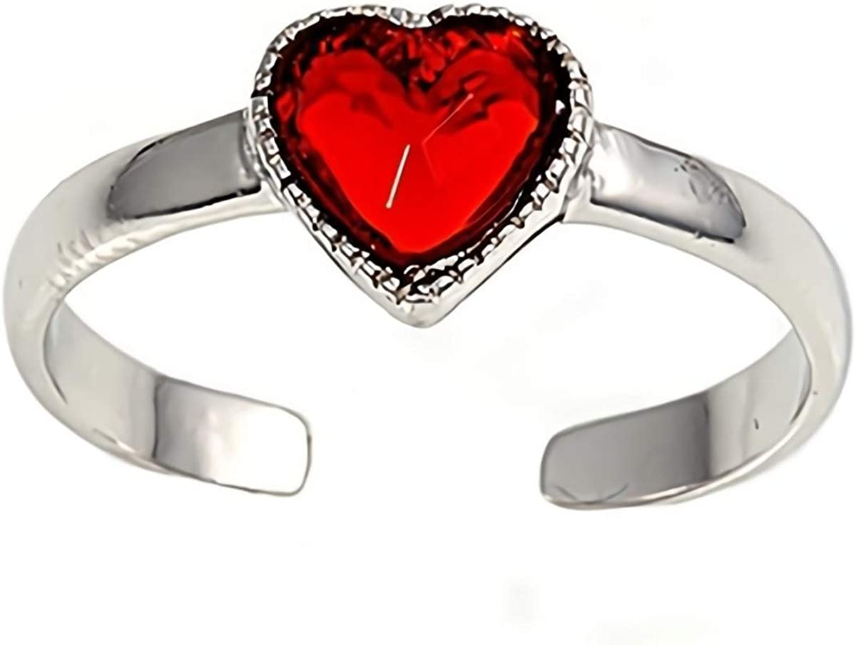 USA Seller Heart Toe Ring Sterling Silver 925 Best Price Adjustable Jewelry Gift