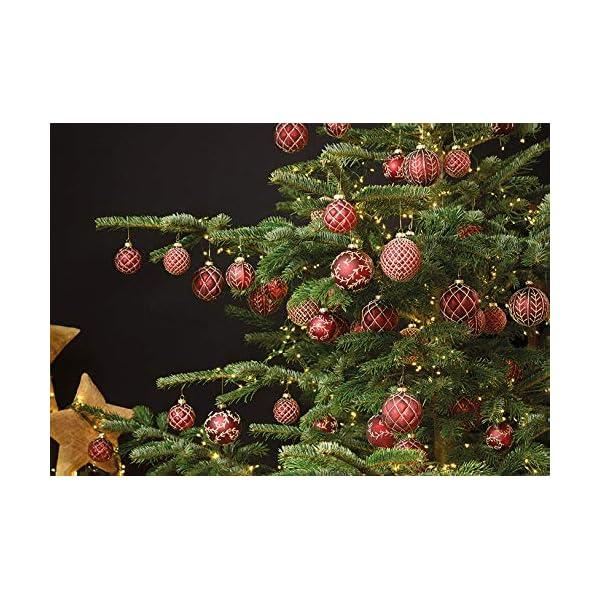 MC, set di 12 palle di Natale in vetro, Ø 6 cm, palle per albero di Natale, decorazione natalizia, Vetro, Oro rosso, Ø 6cm 4 spesavip