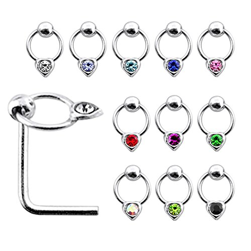 20 Pieces Box Set of Jeweled Heart on Moving Ring Top Sterling Silver L Bend Nose Stud Jewelry