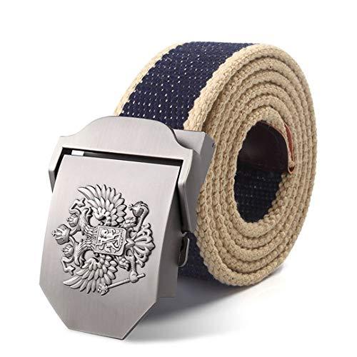 (JUIHUGN Canvas Belt Russian National Emblem Alloy Buckle Military Men Belt Army Tactical Belts for Men Best Male Strap Blue Beige Side 130cm)