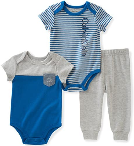 [Sponsored] Calvin Klein Baby Boys' 3 Piece Short Sleeve Bodysuit and Pant Set