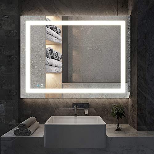 illucid LED Bathroom Mirror 32x24 inch Dimmer & Defogger Crystal Clear & -