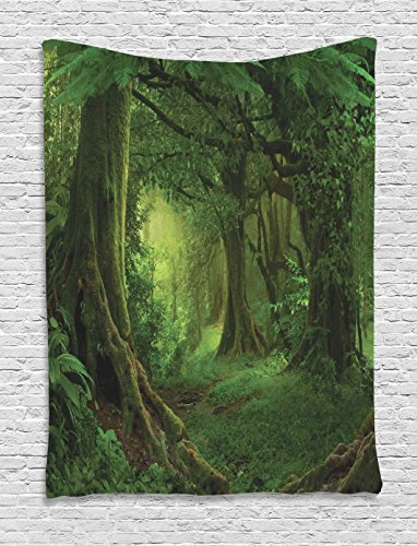 Ambesonne Forest Decor Tapestry by, Enchanted Woodland Foliage in Deep Tropical Jungle at Southeast Asian Landscape, Wall Hanging for Bedroom Living Room Dorm, 40WX60L Inches, Green