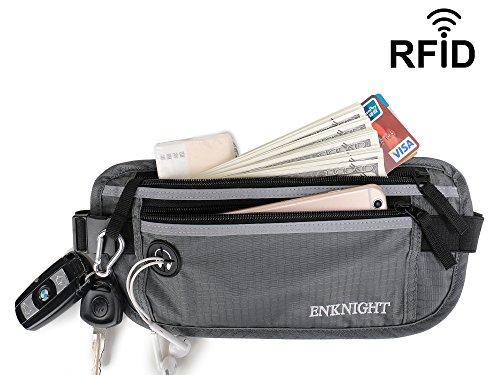 ENKNIGHT Big RFID Money Belt for Travel Running Waist Pack Fanny Pack Gray Gray Pack