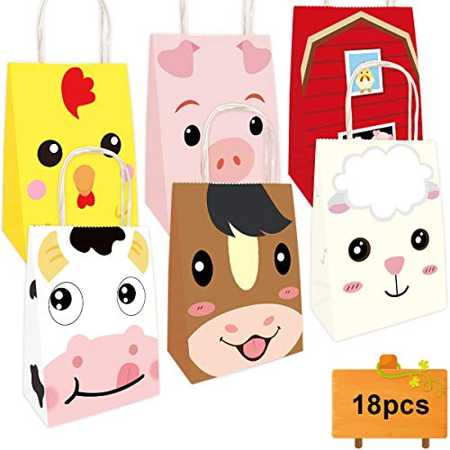 Farm Animal Bags Barnyard Party Favor Birthday Gift Treat Goody Bag 18 Pack ()