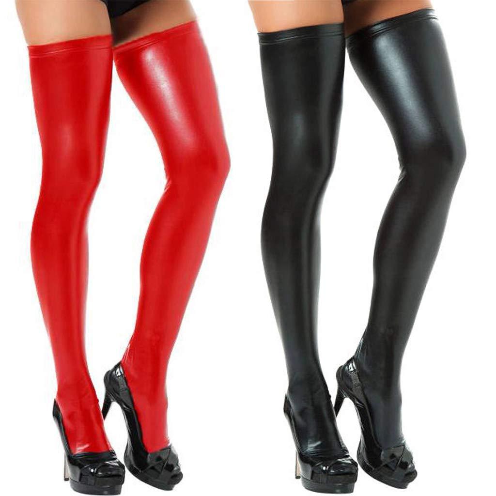Dabixx para Mujer Calcetines por Encima de la Rodilla Pantalones de Cuero de imitación Casual Overknee Largo Pantimedias Plateado: Amazon.es: Hogar
