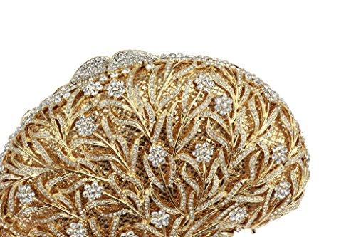 Yilongsheng Cristallo Strass Vine Borse E Borsa Di Moda Per Le Donne (oro + Bianco)