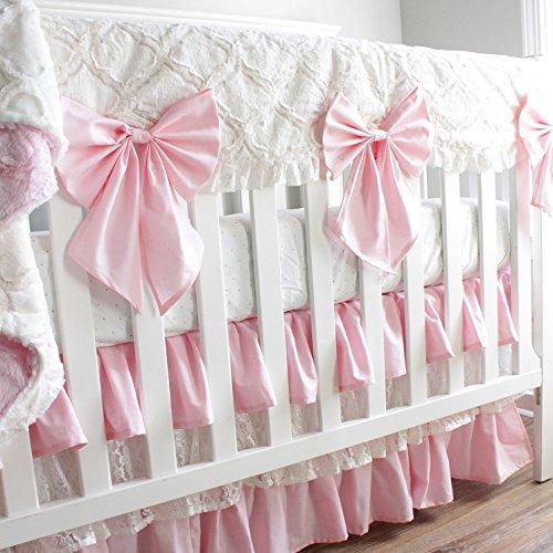 Baby Pink and Ivory Minky Lattice Lace baby girl crib (Lattice Rail)