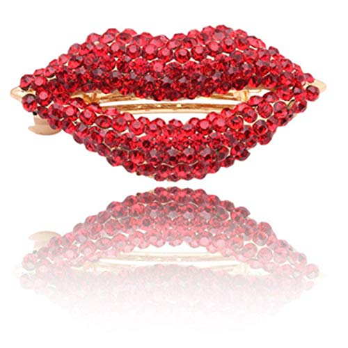 cuhair 1pc Red Crystal Lips Women Girl Hair Clip Barrette Hair Accessories For Good Friday Easter Day Halloween (red) -
