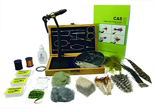 Colorado Anglers Z797 Wooden Fly Tying Standard Tool Kit, Fly Fishing Vise, Bobbin, Threader, Bodkin, Dubbing Twister, Hackle Pliers, Scissors, Whip Finisher (Plus Materials Book DVD Kit)