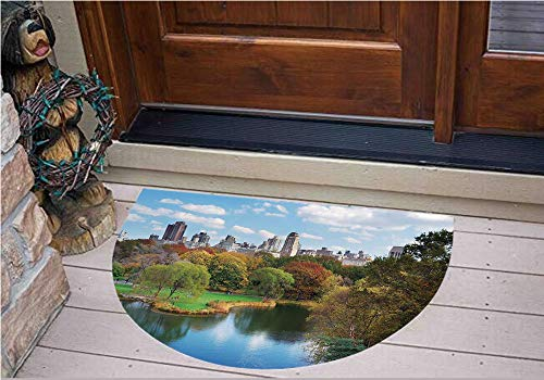 3D Semicircle Floor Stickers Personalized Floor Wall Sticker Decals,with Lake Trees and Manhattan USA American Nature,Kitchen Bathroom Tile Sticker Living Room Bedroom Kids Room Decor Art Mural D31.5