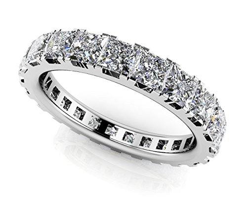 14 K Or blanc diamant coupe princesse Eternity Bague