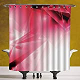 Hot Pink and Black Shower Curtain SCOCICI Fun Shower Curtain 3.0 [ Abstract,Vibrant Pink Colored Fractal Graphic Energy Flow Artistic Futuristic Decorative,Black Hot Pink White ] Polyester Fabric Bathroom Shower Curtain