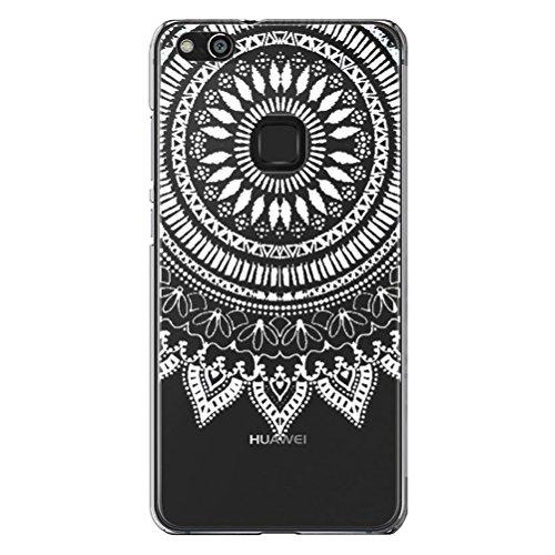 Funda Huawei P10 Caja Del Teléfono,Con Protector De Pantalla De Cristal Templado Blanco Tribal Mandala Henna Transparente Diseño TPU Funda protectora parachoques a prueba de golpes para Huawei P10 Lit #04