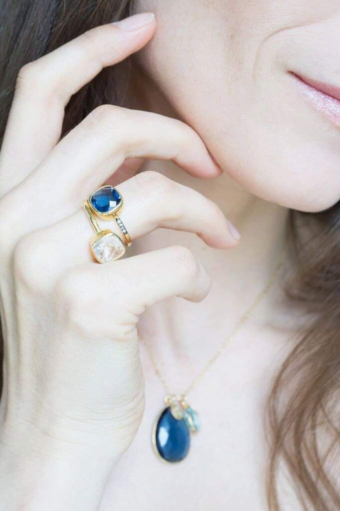 April Birthstone ring bezel set ring Vermeil Gold or silver Clear Quartz Cushion Ring Stackable Ring