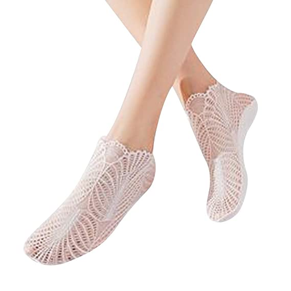 Naturazy-Calcetines de Seda Corto Medias de Verano con Fondo Antideslizante Señoras Transparente Calcetines de Encaje Brillante Calcetines Cortos Suaves ...