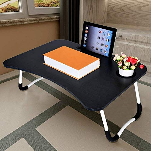 SKUDGEAR Multi-Purpose Laptop Desk for Study and Reading with Foldable Non-Slip Legs Reading Table Tray (Black)