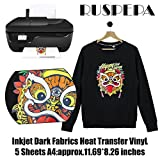 #2: RUSPEPA 11.69 x 8.26 inches Inkjet Printable Transfer Paper Iron-on Black or Dark Fabric T-Shirt Transfers, A4 Sheets 5 Sheets