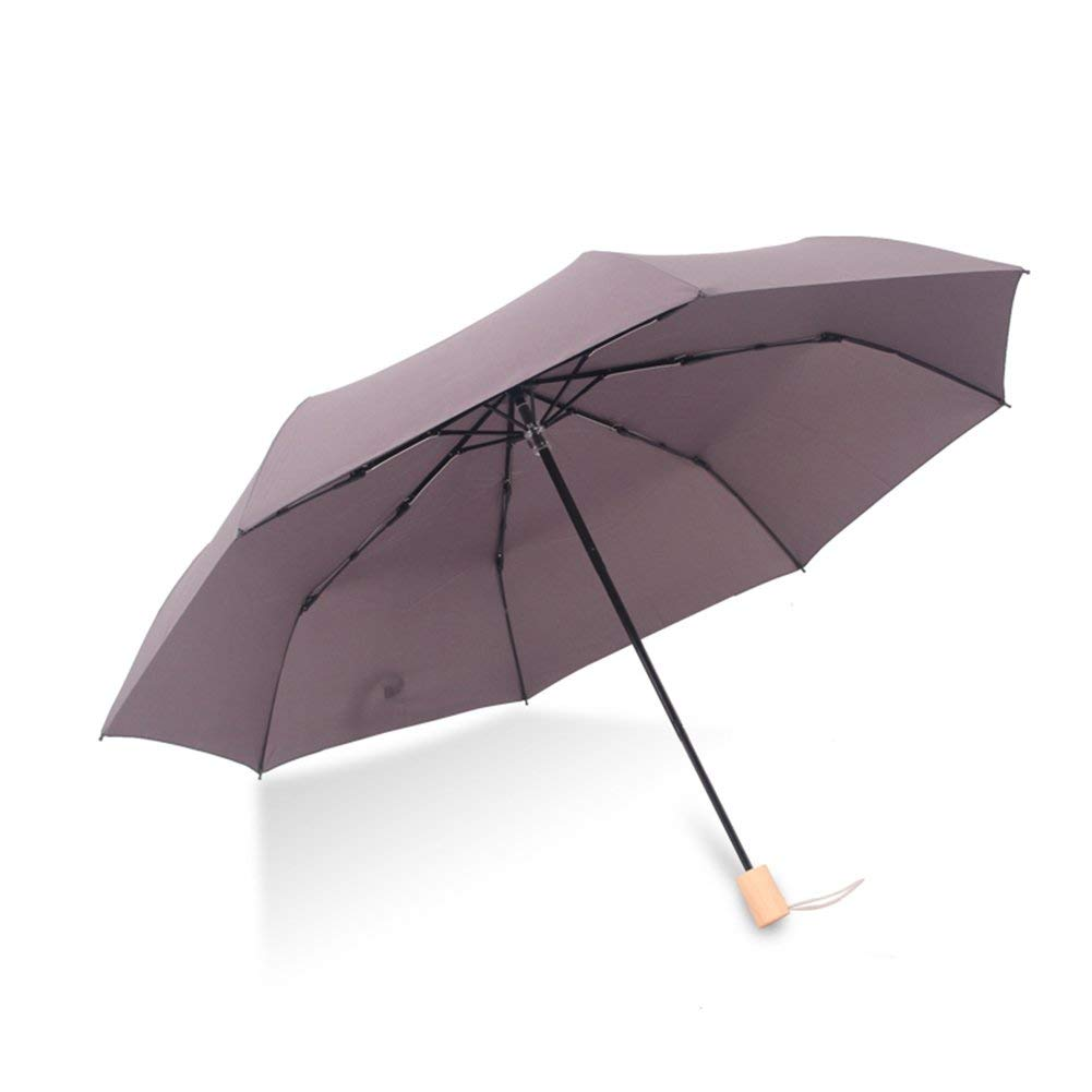 Crystallly Parapluie Manche en Bois Etudiant Parapluie Trois Plis Ultralight Ms Simple Style Lady (Couleur Parapluies Imperméables (Color : #1, Size : One Size)
