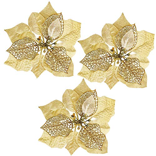 Winlyn 20 Set Christmas Gold Glitter Poinsettia Flowers Picks Christmas Tree Ornaments for Gold Christmas Tree Wreaths Garland Holiday Seasonal Festive Navidad Decoration White Gift Box Included (Holiday Decorations Tree)