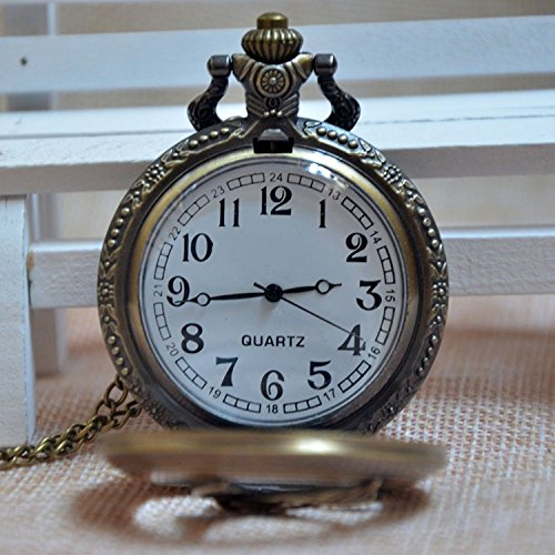 Carrie Hughes Eagle Hunter Steampunk Quartz Pocket Watch With Chain Xmas Gift for Men Woman (Bronze-Bird)