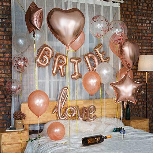 Jiami Bridal Shower Decorations Set 丨Bachelorette Party Decorations Kit Rose Gold-Bride Foil Balloon,Love Foil Balloon, Heart Balloon,Star Balloon,Latex Balloon