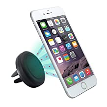 Car Mount, KAMII Air Vent Magnetic Universal Car Mount Holder for iPhone 6S/6, Galaxy S6/S6 Edge, LG G4, Apple iPhone 5S 5C 5 4S, Samsung Galaxy S5 S4, Nexus 5X, HTC M9 (Black)