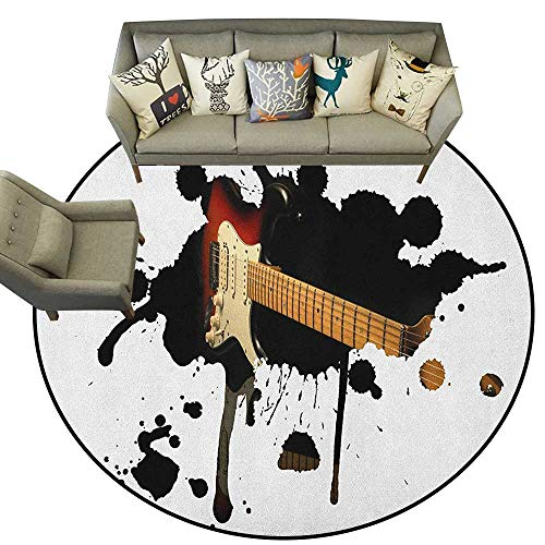 Popstar Party,Throw Round Rugs Electric Guitar Fretboard on Black Grungy Color Splashes Art D36 Study Room Kids Floor Mat Carpet