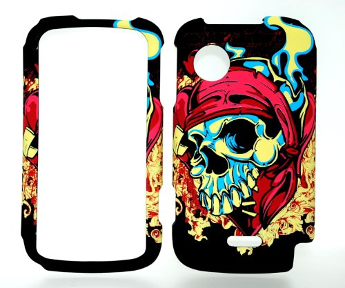 Pirate Skull Rubberized Snap on Hard Protective Cover Case for Huawei M735 (Huawei M735 Case)