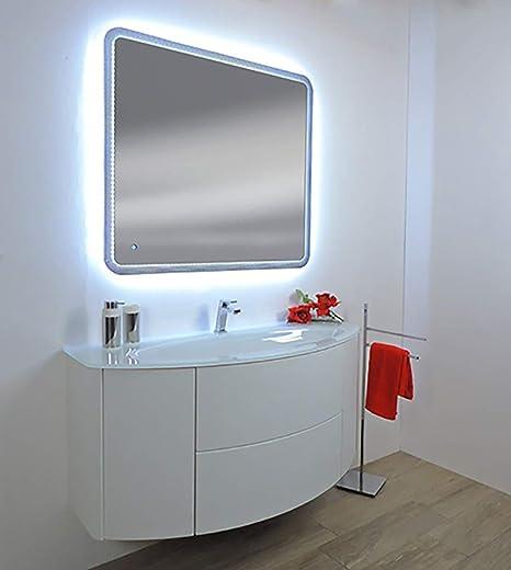Mobile bagno sospeso Eden touch bianco,cm 90,lavabo cristal senza ...