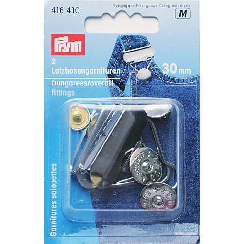 PRYM 416410 Dungarees/Overall ?ttings Size 30mm steel silver-coloured, 2 pieces by PRYM-Consumer