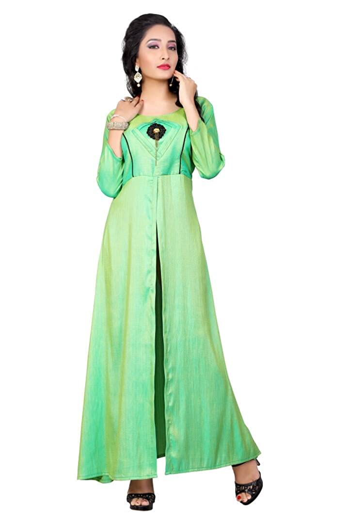 Buy Shivam Fashion Designer Green Imported Melbourne Fabric Semi Stitched Gown At Amazon In