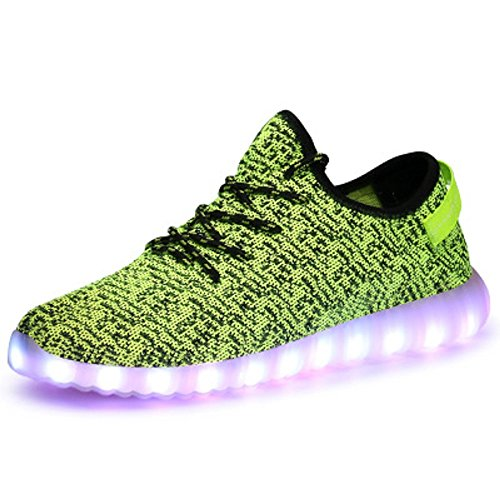 Price comparison product image GreatJoy Adults/Kids LED Shoes Light up Sneaker USB Charging Fashion Gift (30/11.5M Little Kid, Green)